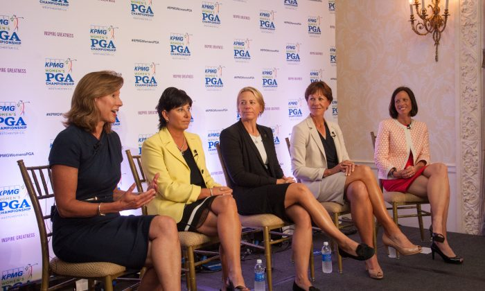 Lynne Doughtie, Nancy Henderson, Annika Sorenstam, PGA of America Secretary, Suzy Whaley, and Adina Friedman speak to attendees during the Inspire Greatness Press Conference at the 2015 KPMG Women's PGA Championship held at Westchester Country Club on Wednesday, June 10, 2015 in Harrison, New York. (Montana Pritchard/The PGA of America)