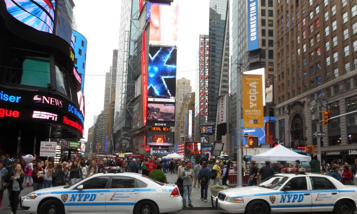 New York City police officers on duty in Times Square on May 21. (Vincent J. Bove)