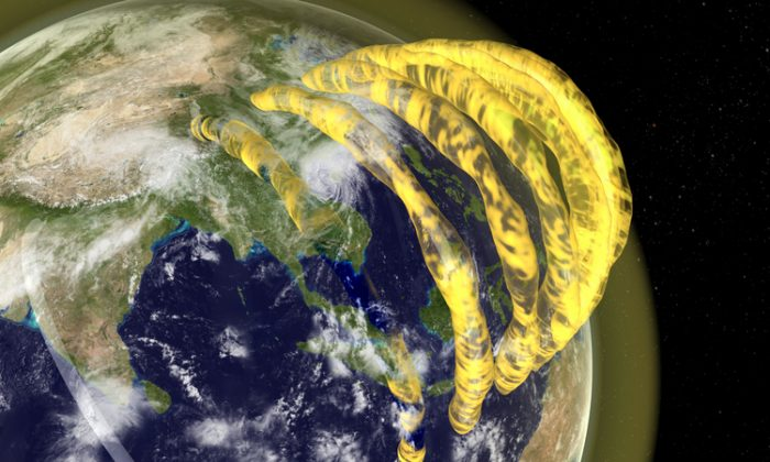 A 3D visualisation of the plasma tubes conforming to the Earth's magnetic field. (CAASTRO / Mats Björklund)