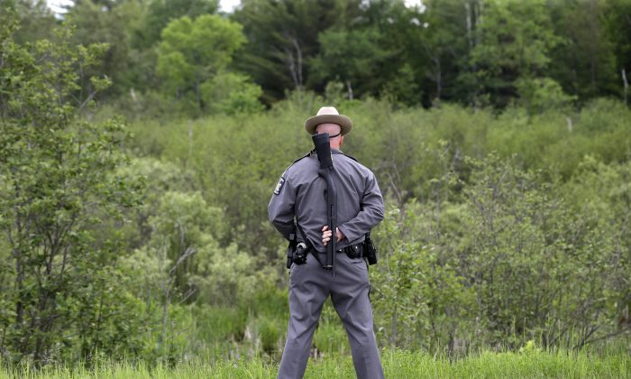 A law enforcement officers stands on a road and looks into the forest near Dannemora, N.Y., Friday, June 12, 2015. (AP Photo/Seth Wenig)