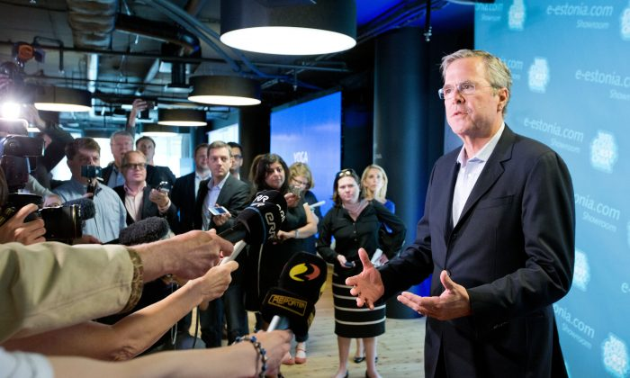 Former US Governor of Florida Jeb Bush speaks to journalists during his visit in Tallinn, Estonia, Saturday, June 13, 2015.