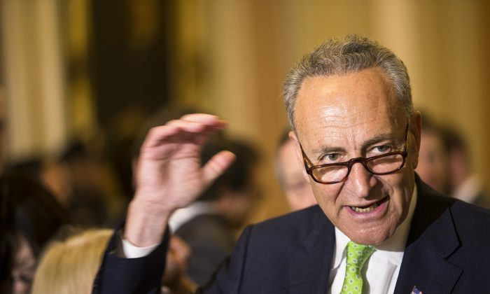 FILE - In this May 5, 2015, file photo, Sen. Charles Schumer, D-N.Y., speaks to reporters on Capitol Hill in Washington.  (AP Photo/Brett Carlsen, File)