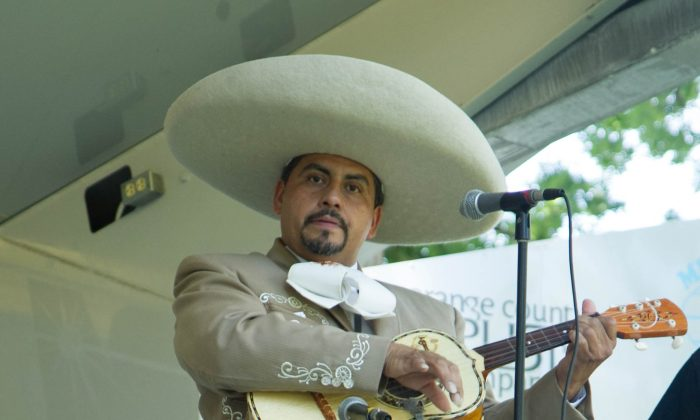 The lead vocalist for Mariachi Solido at the Latino Festival in Middletown on June 14, 2015. (Holly Kellum/Epoch Times)