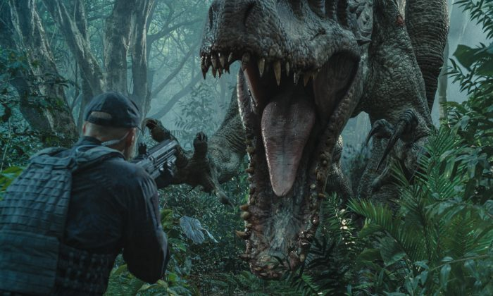 "The Indominus rex readies her attack in ""Jurassic World"" (ILM/Universal Pictures/Amblin Entertainment)"