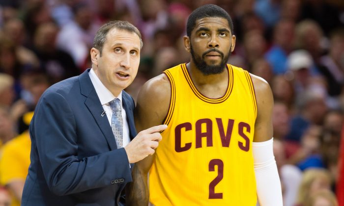Head coach David Blatt (L) of the Cleveland Cavaliers has the team in the NBA Finals despite the loss of stars Kyrie Irving (R) and Kevin Love. (Jason Miller/Getty Images)