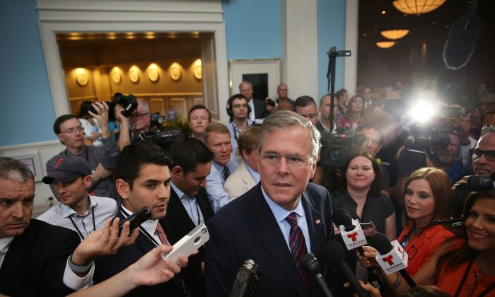 Former Florida Governor Jeb Bush and possible Republican presidential candidate speaks to the media after addressing the Rick Scott's Economic Growth Summit held at the Disney's Yacht and Beach Club Convention Center on June 2, 2015 in Orlando, Florida.  (Joe Raedle/Getty Images)