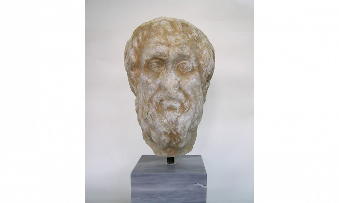 Although there are no accurate images of Homer from his lifetime, many were carved between the 5th and the 2nd centuries B.C. This head, depicting the poet in old age, is part of a Roman copy of a Greek original. (Hellenic Ministry of Culture, Education and Religious Affairs)