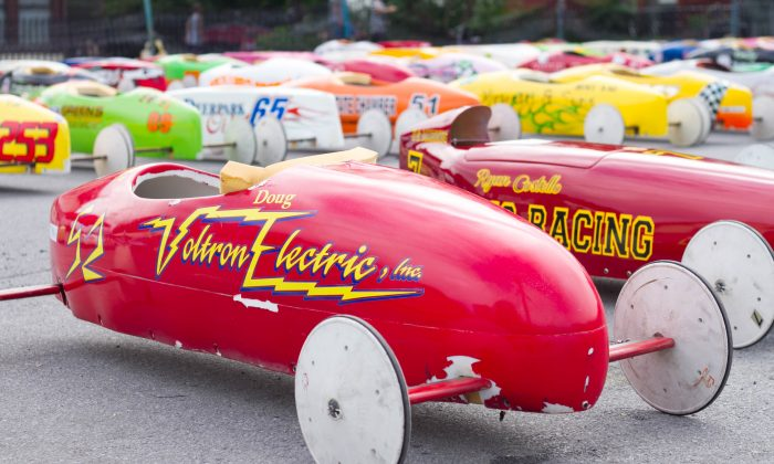 Soap box cars lined up during the Soap Box Derby in Port Jervis, New York on June 14, 2015. (Holly Kellum/EpochTimes)
