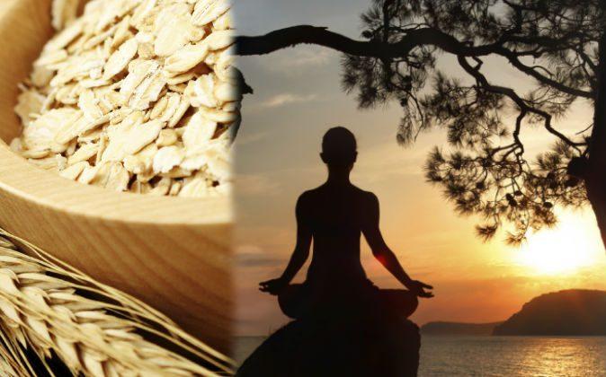 Left: Grains (Matka_Wariatka/iStock) Right: A file photo of a meditator (Hlib Shabashnyi/iStock)