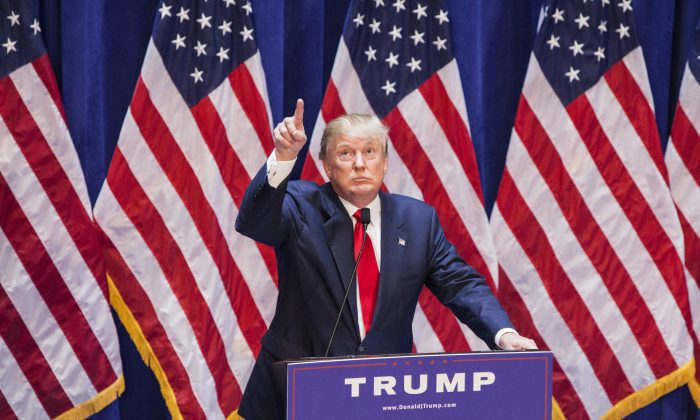 Business mogul Donald Trump gives a speech as he announces his candidacy for the U.S. presidency at Trump Tower on June 16, 2015 in New York City. (Christopher Gregory/Getty Images)