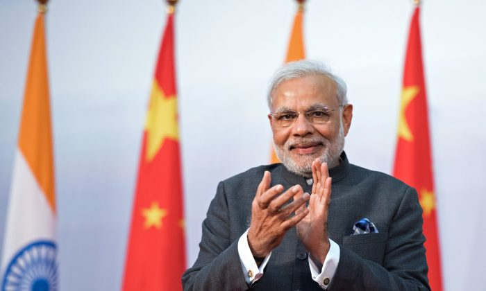 India's Prime Minister Narendra Modi at Fudan University in Shanghai on May 16. Modi's three-day visit to China was marked by frank talk about India–China relations. (JOHANNES EISELE/AFP/Getty Images)