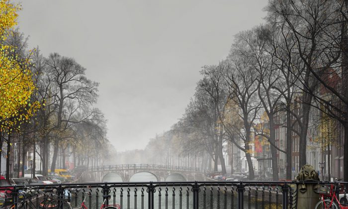 """Amsterdam Mist,"" Bert Monroy's first zoom-able digital painting. (Courtesy of Bert Monroy)"