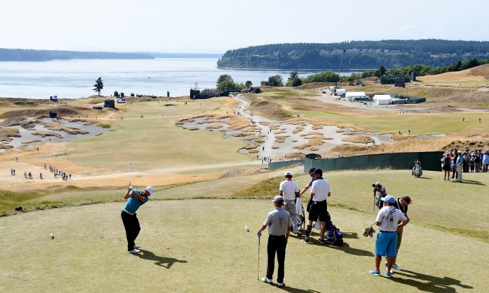 Martin Kaymer of Germany hits a shot during a practice round prior to the start of the 115th U.S. Open Championship at Chambers Bay on June 16, 2015 in University Place, Washington. (Harry How/Getty Images)