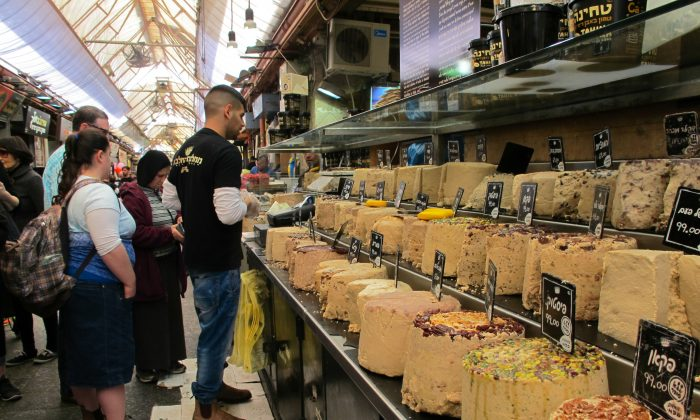 Halva Kingdom at Mahane Yehuda Market in Jerusalem sports 100 different flavours of halva. (Photo by Bill Strubbe)