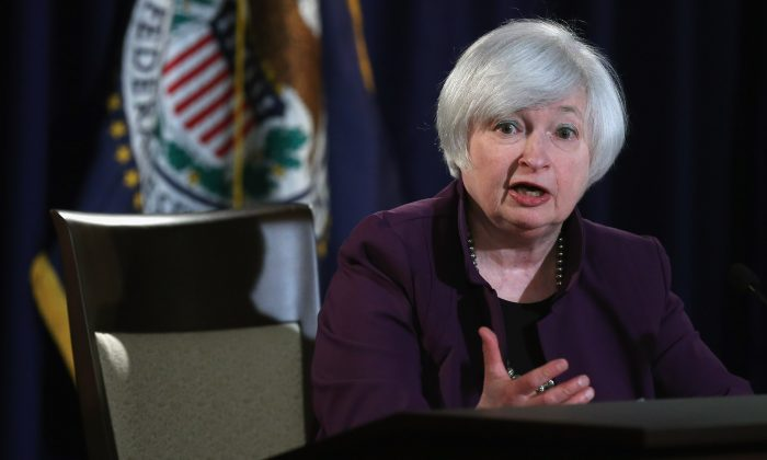 Fed chair Janet Yellen stressed not focusing on when the first rate hike takes place, but rather the trajectory of rates in her press conference on June 17, 2015 in Washington, DC. (Chip Somodevilla/Getty Images)