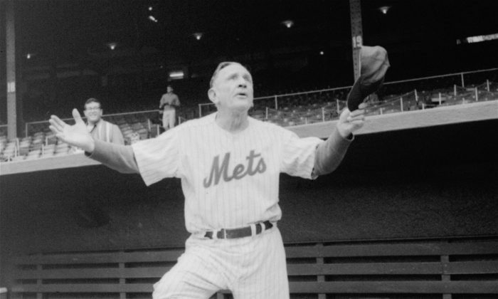 Casey Stengel, manager of the New York Mets, says farewell to the Polo Grounds September 18, 1963, which has been the temporary home of the New York club since it was formed. The Mets will move next spring into the new Bill Shea Stadium in the Queens borough of New York City. (AP Photo)