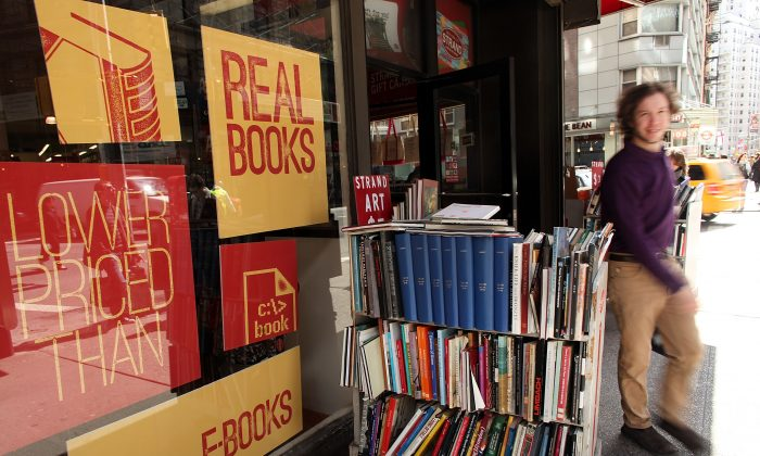 People exit the Strand Bookstore on April 2, 2012 in New York City. (Spencer Platt/Getty Images)