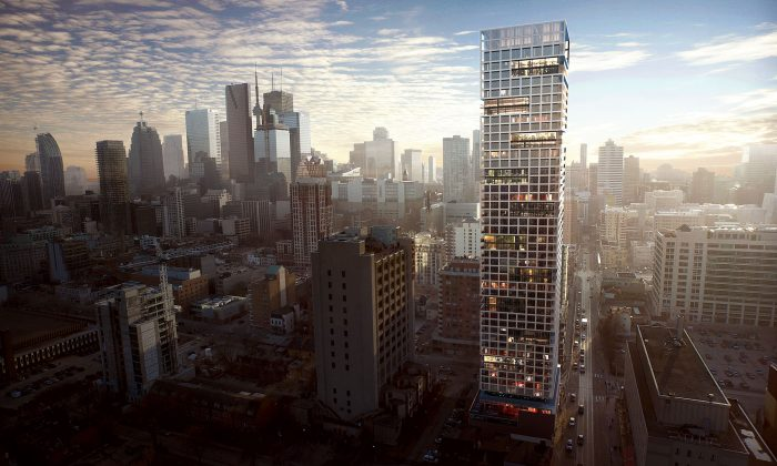 Rendering of CentreCourt Developments' Grid Condos, a high-rise residential condominium project located at the corner of Dundas and Jarvis in downtown Toronto next to Ryerson University's urban campus. It is also near other institutions such as St. Michael's teaching hospital, George Brown College, Canada's National Ballet School. The Dundas streetcar stops at Grid's doorstep, and the Yonge subway is just steps away. (Courtesy CentreCourt Developments)