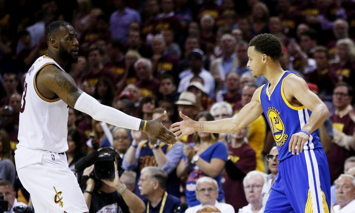 LeBron James (L) of the Cleveland Cavaliers lost to Stephen Curry and the Golden State Warriors in these just completed finals, but we could be headed for a rematch next year. (Ezra Shaw/Getty Images)