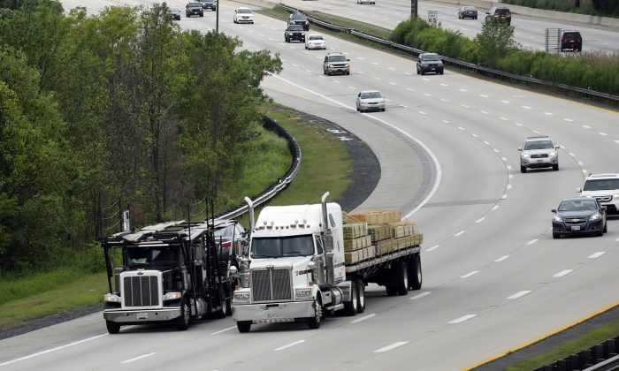 Trucks head eastbound on Rt 50 in Bowie, Md.,