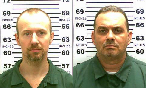 FILE - At left, in a May 21, 2015, file photo released by the New York State Police is David Sweat. At right, in a May 20, 2015, file photo released by the New York State Police is Richard Matt. (New York State Police via AP, File)