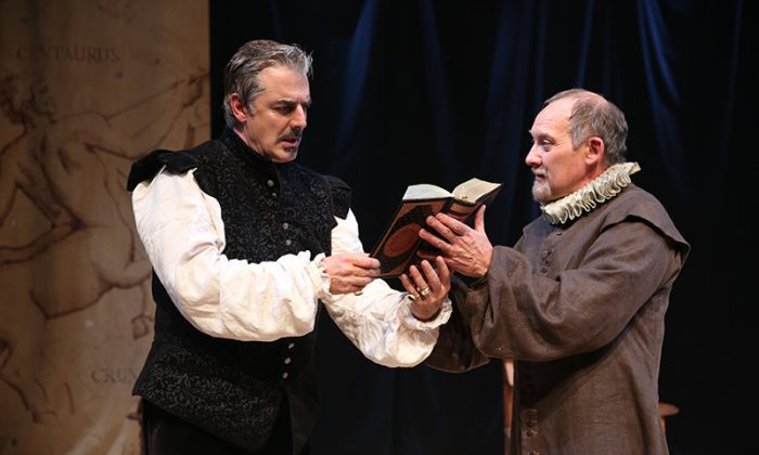 Doctor Faustus (Chris Noth) as he is tempted by Mephistopheles (Zach Grenier). (Joan Marcus)