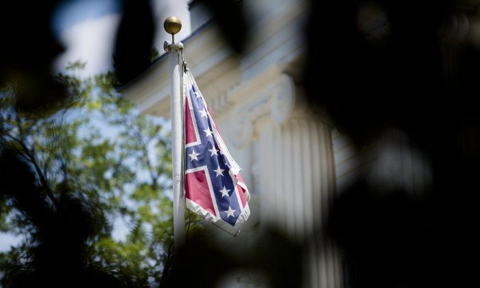 A Confederate flag flies on the grounds of the Alabama Capitol building in Montgomery, Ala., on Monday. (Albert Cesare/The Montgomery Advertiser via AP)