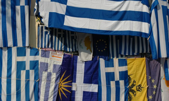 Flags for sale in Athens, Greece, on Oct. 27, 2008. (Jay Bergesen/Flickr/CC BY 2.0)