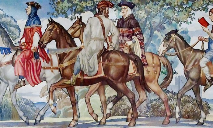 "A 1939 mural of the pilgrimage found in ""The Canterbury Tales."" Library of Congress John Adams Building, Washington, D.C. (Library of Congress)"