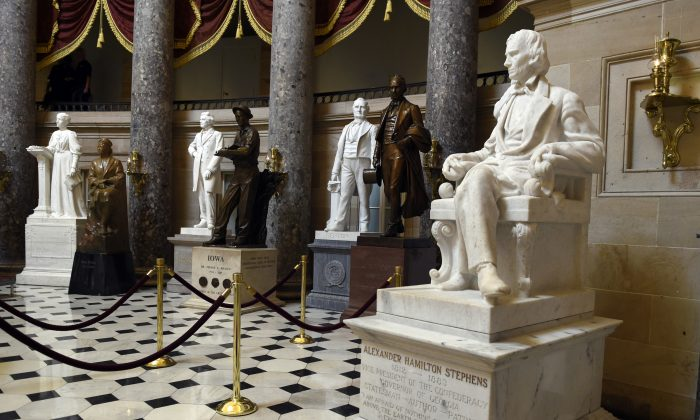 A statue of Alexander Hamilton Stephens is on display in Statuary Hall on Capitol Hill in Washington, D.C., on June 24, 2015. (AP Photo/Susan Walsh)