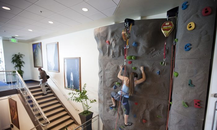 Google software engineer Amanda Camp on a climbing wall at the Google office in Kirkland, Washington, on Oct. 28, 2009.(Stephen Brashear/Getty Images)