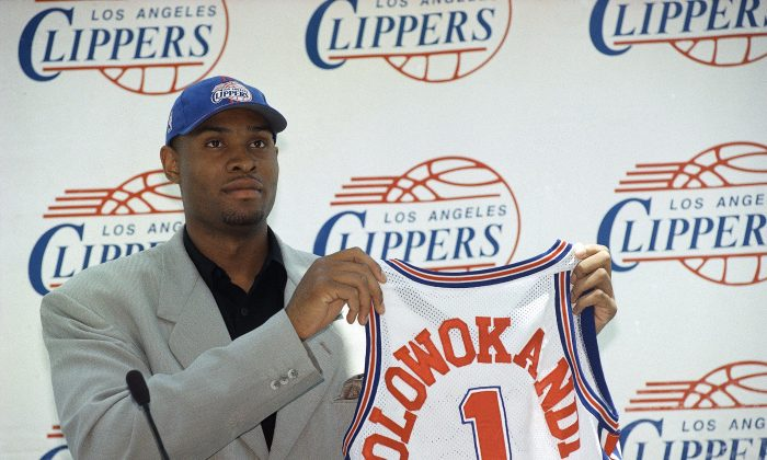 Michael Olowokandi, the first pick in the 1999 NBA Draft, but played on three different teams with minimal impact over a nine-year career. (AP Photo/Nick Ut)