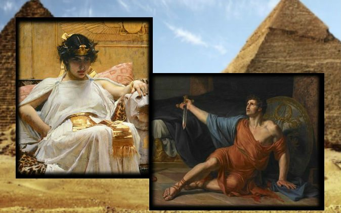 "Left: A painting of Cleopatra by John William Waterhouse, 1888. Right: ""Death of Antony,"" by Jean Germain Drouais, 18th century. (Wikimedia Commons) Background: A file photo of pyramids in Egypt. (Redhouane/iStock)"