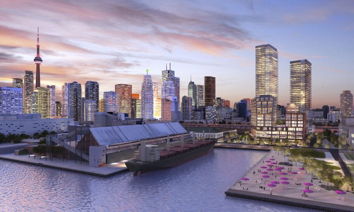 At full build-out, Daniels Waterfront – City of the Arts will include two condo towers (the two buildings on the right) and a pair of office buildings, plus a 150,000-square-foot Creative Industries Hub housing arts organizations like Artscape. (Courtesy of Daniels Corp.)