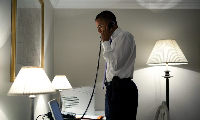 DUBLIN, IRELAND - MAY 23:  In this handout image provided by The White House, U.S. President Barack Obama talks on the phone with Missouri Governor Jay Nixon, during his visit May 23, 2011 in Dublin, Ireland. The President extended his condolences to all impacted by the deadly tornadoes in Joplin, Mo. (Photo by Pete Souza/The White House via Getty Images)