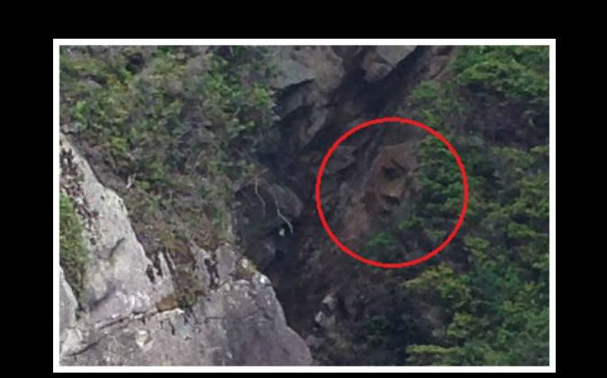 A face found on a cliff face in Pacific Rim National Park Reserve's Broken Group Islands in British Columbia, Canada. (Parks Canada/Tanya Dowdall)