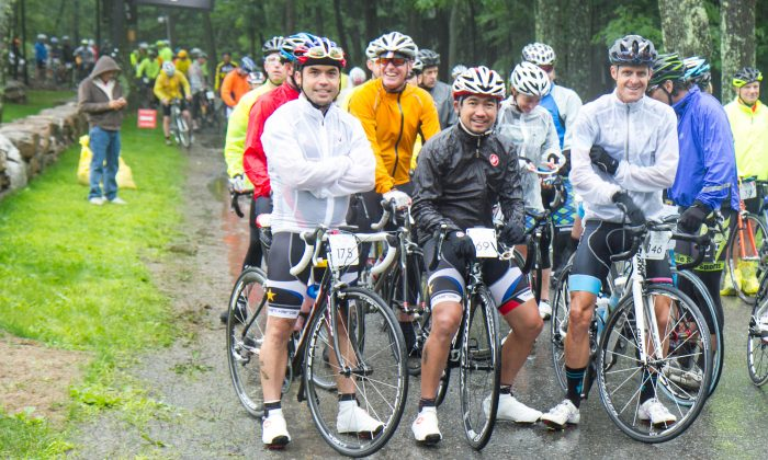 Bikers before the start of the ride at Cedar Lakes Estate in Port Jervis, N.Y. on June 28, 2015 (Holly Kellum/Epoch Times)