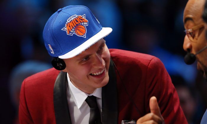 The Knicks took Kristaps Porzingis with the fourth pick in the 2015 NBA Draft—much to the chagrin of most Knicks fans. (Elsa/Getty Images)