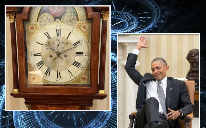 Left: The clock in the Oval Office stopped at 10:10 on June 25, 2015, the time Barack Obama learned of an important Senate decision on the Affordable Care Act. (Pete Souza/White House) Right: President Barack Obama reacts as he is told of the ACA decision on June 25, 2015. (Pete Souza/White House) Background: (French Toast/iStock)