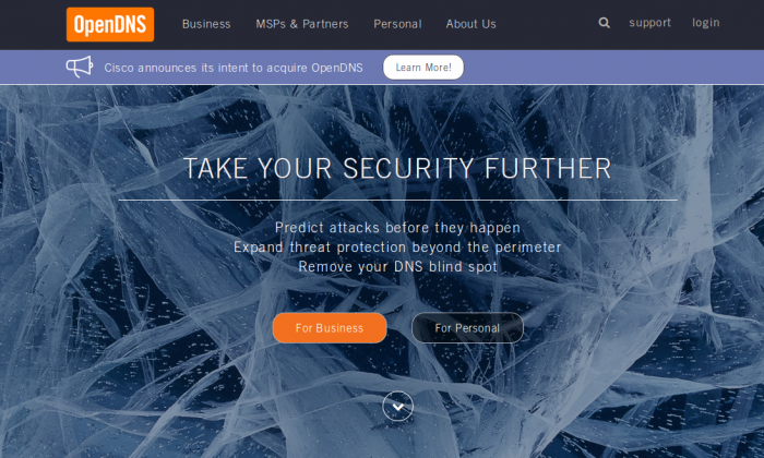 The website of OpenDNS on June 30, 2015. The company is being acquired by Cisco for $635 million in cash. (Screenshot)
