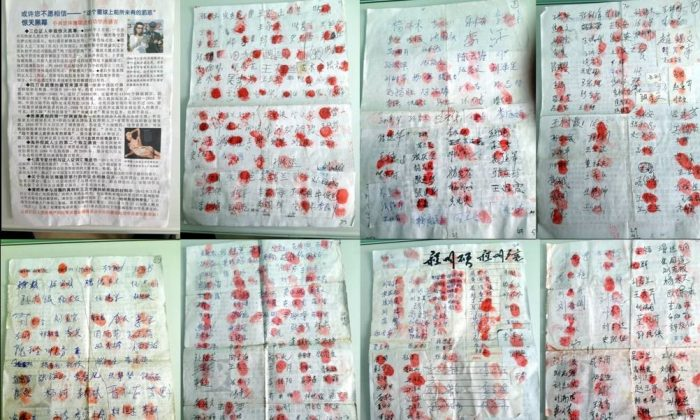 A number of the signatures on the anti-organ harvesting petition circulating in cities across northern China. (minghui.org)