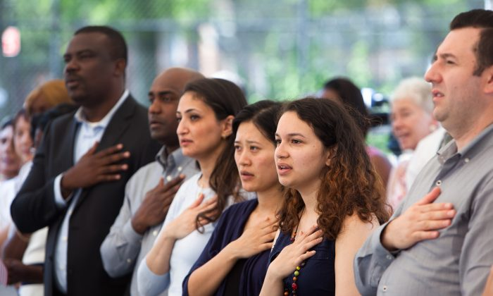 Naturalization ceremony for new U.S. citizens in Brooklyn, N.Y. on July 1, 2015. (Petr Svab/Epoch Times)