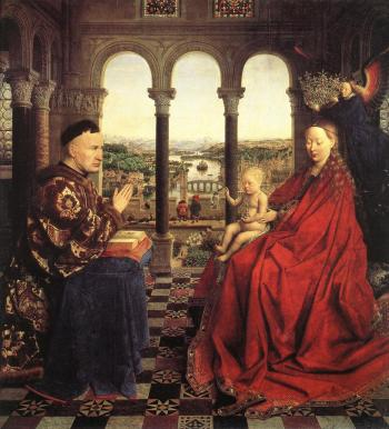 GREAT IMPROVEMENT: Jan van Eyck combined northern European Gothic style with his improved medium, creating tripditch masterpieces such as the celebrated Madonna of Chancellor Rolin. ((artrenewal.org))