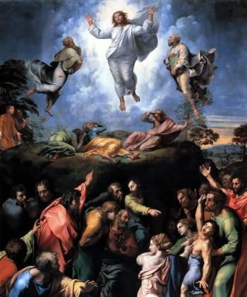 """In """"Transfiguration,"""" painted in his later years, Raphael ingeniously melded two different scenes on one canvas.  ((artrenewal.org))"""