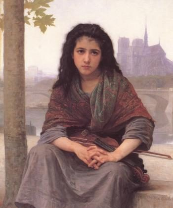 """BEAUTIFUL TECHNIQUE: Bouguereau`s """"Bohémienne (The Bohemian)"""" displays the artist`s skill in depicting detail and feeling. oil on canvas, 1890, private collection (artrenewal.org)"""