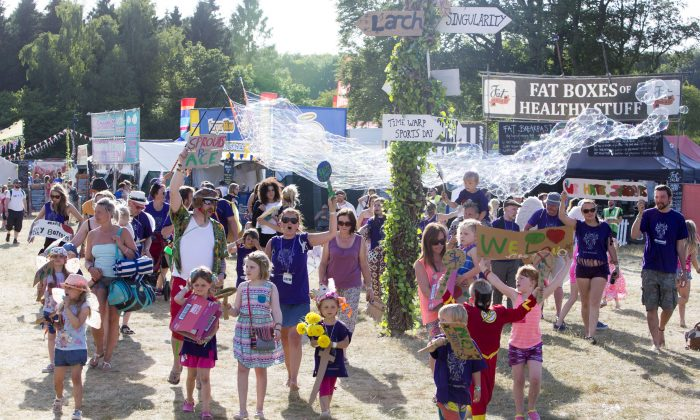 'Acitivist Kids' protest about Brussels sprouts at Blissfields festival 2015