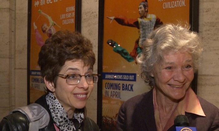 Margaret Emory, an editor at Brain World Magazine, with actress and musician, Helene Jean Arthur, attend Shen Yun Performing Arts in New York's Lincoln Center. (Courtesy of NTD Television)