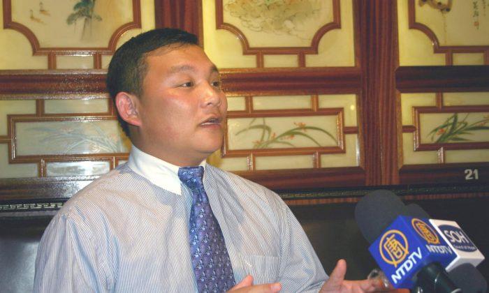 Mr. Zhang Jian, chairman of the China Democratic Front (France) (Zhang Yu/The Epoch Times)