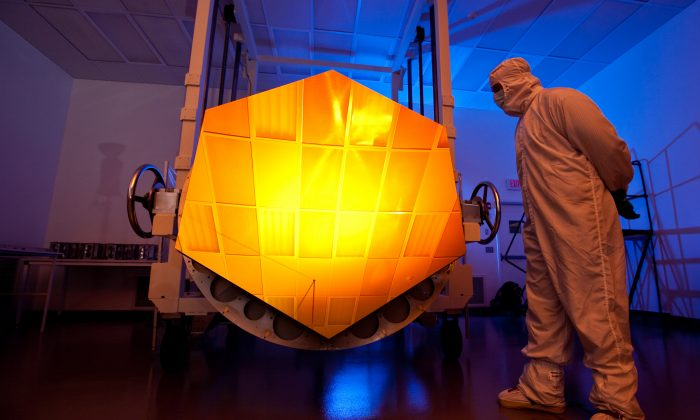 The much-anticipated James Webb Space Telescope will come online in late 2018. Above, its Engineering Design Unit (EDU) primary mirror segment, coated with gold. (Drew Noel/NASA via Wikimedia Commons)
