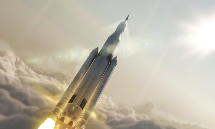 Artist concept of NASA's Space Launch System (SLS) 70-metric-ton configuration launching to space. SLS is still in development, with its first flight slated for 2018. (NASA/MSFC)